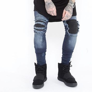 New brand Men Ripped skinny Biker Jeans elastic stretch hip hop Motorcycle Jeans  Vintage Distressed Denim Jogger Cargo pants