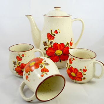 Tea Set 2 large Cups Milk Jug Orange Flower Tea Pot Kitsch  Japan Stoneware