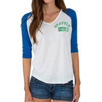 Seattle Seahawks Junk Food Women's Victory Tri-Blend V-Neck Three-Quarter Sleeve T-Shirt – White