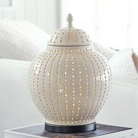 PERFORATED CERAMIC JAR ACCENT TABLE LAMP