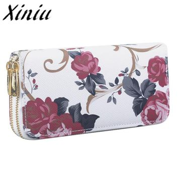 Xiniu Floral women wallets 2 zipper large womens wallets and purses for mobile phone women wallet and purses bag female cloth#WS