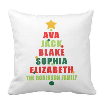 Christmas Family PILLOW - Christmas Tree Pillow - Personalized Christmas Gift - Family Name Pillow - Pillow Cover or With Insert-Made in USA