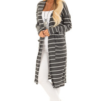 Charcoal Grey and Cream Stripe Cardigan with Pockets