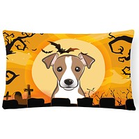 Halloween Jack Russell Terrier Fabric Decorative Pillow BB1818PW1216