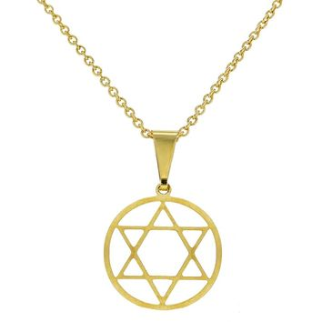 18k Gold Plated Judaism Pendant Star of David Medal Pendant Necklace 19""