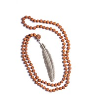 Rudraksha Large Feather Necklaces - Silver