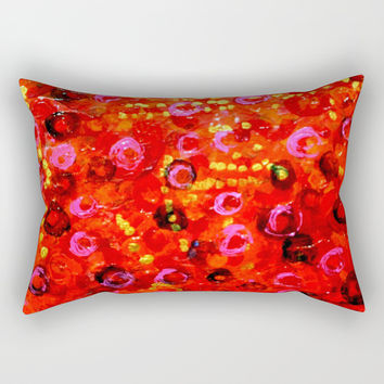 Aboriginal Art - Finger Painting Rectangular Pillow by Chris' Landscape Images & Designs