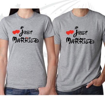 Just Married Mr Mrs Matching Pullovers Hoodies Jumpers T-Shirts Tank Tops for Couple, Disney Font, Free Backpack, Married With Mickey, 005