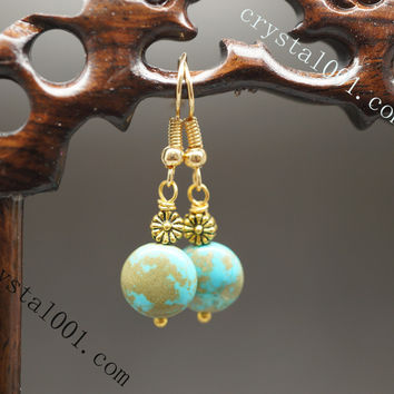 Handmade stone earrings natural turquoise flower earrings chakra healing earrings archaistic earrings