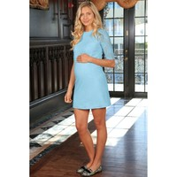 Blue Stretchy Lace Elbow Sleeve Shift Party Dress - Women Maternity