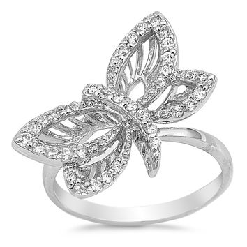 Sterling Silver CZ Simulated Diamond Dragonfly Ring 14MM