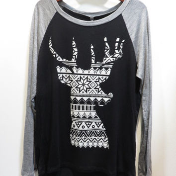 Aztec Deer Raglan Top in Black
