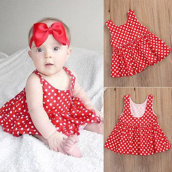 Cute Infant Red Polka Dot Mini Dress Fashion Baby Girl Sleeveless Short Outfits Toddler Summer Clothes
