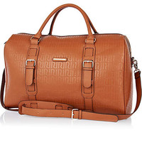 Brown RI embossed weekend bag