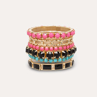 bebe Womens Colorful Bracelet Set Black Pink