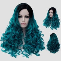 Trendy Black Turquoise Gradient Fluffy Curly Synthetic Long Universal Party Wig For Women