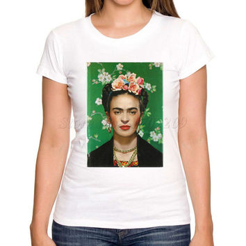 Asian Size New brand Frida Kahlo women t shirt short sleeve casual slim lady tops retro funny printed fashion tee shirts
