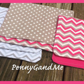 Personalized Pink Chevron Burp Cloths ~ Grey Chevron Burp Cloths Set of 3