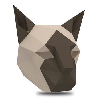 Make your own Siamese Cat Mask, Animal Mask Head, Instant Pdf download, DIY Printable Paper Mask, Halloween, 3D Polygon Masks