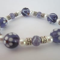 Amethyst Glass Flower Bracelet with Glass Pearls and Silver-Plated Accents