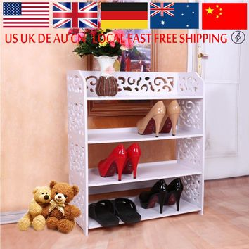Shoe Cabinet Shoes Storage Organizer Shelf White WPC Fabric Shoe Holder Kitchen Furniture Decorative Stand Rack