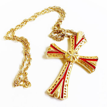 Cross Necklace, Maltese Cross, Large Cross Pendant, Gold and Red Cross, Statement Necklace, Vintage Cross Jewelry, Gold Cross, Gold Chain