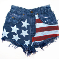 American Flag / Destroyed Blue Denim / High Waist Shorts