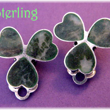 Shamrock - Connemara Marble Sterling Silver Clover Earrings - Ireland