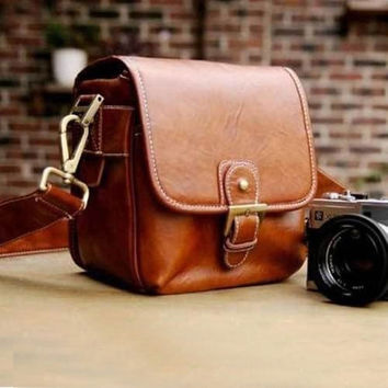 3b56f2cbbcd Brown Vintage Stylish PU Leather Camera Bag DSLR Shoulder Strap Messenger  Bag