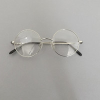 Vintage 90s Retro John Lennon Style Eyeglasses Retro Fashion Glasses Round Circle Frames Classic Silver Tone Hipster Preppy Harry Potter