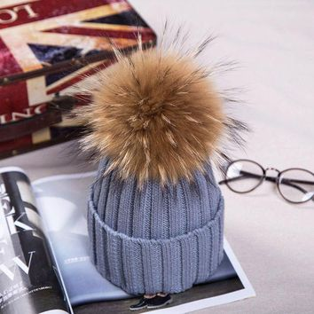 DCCKJG2 15cm Pom Poms Winter Hat For Women Girl 's Real Raccoon Ball Wool Hats Thick Female Knitted Cotton Beanies Cap