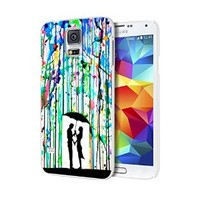 Love Song Romantic in the Rain Paint Custom Case for Samsung Galaxy S3/ S4/ S5 (white samsung galaxy S5)