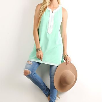 Mint Embroidered Tunic Tank