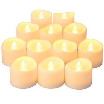 Flameless Candles, LED Candle Lights, Tea Light Candles, Realistic Bright Bulb, Battery Operated, Set of 12 + Warm White for Halloween, Christmas, Party, Festival (Battery Included)