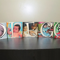 Personalized Photo Block, 5 block set, Name Block, Family, Kids, Photo Gift, Personalized Gift, Letter Blocks, Photo on Wood, Image Transfer