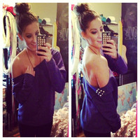 Studded Solid Purple Off the Shoulder Sweatshirt Sz. Large