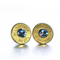 Bullet Stud Earrings- Brass and Denim Blue