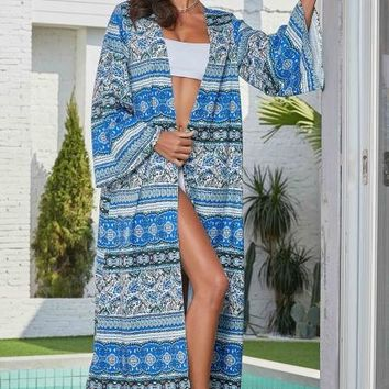 Sky Blue Boho Print Long Sleeve Open Front Beachwear