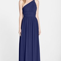 Women's Donna Morgan 'Rachel' Ruched One-Shoulder Chiffon Gown
