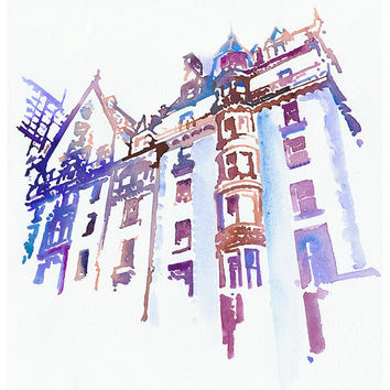 "Dakota Building Print, New York Illustration Print series 11"" x 17"""