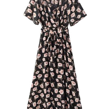 Floral Print V-neck Tie Waisted with Front Split Maxi Dress