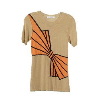 Viktor & Rolf Beige Viscose Bow Front Short Sleeve Top Size S