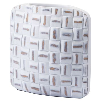 A10588 Mosaic Square Vase Sm Antique White