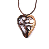 Wooden Heart Necklace, Wood Jewelry, Tree of Life Necklace, Tree of Life Pendant, Wooden Pendant, Hand Carved Pendant, Wooden Heart Pendant