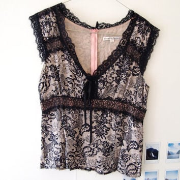 Vintage Silk Pink And Black Lace Detail Singlet Top
