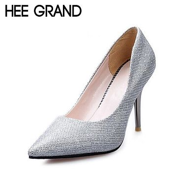 HEE GRAND Woman's Glitter Bling Thin High Heels Pumps