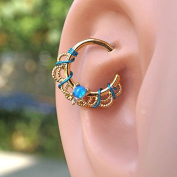 Copy of White Opal Daith Hoop Ring Rook Hoop Cartilage Helix