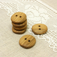 Natural wood buttons. Set of 6 handmade oak wood buttons size 1 in (25mm) - O2425