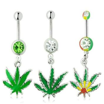ac DCCKO2Q 2016 new Sexy Rhinestone Ball Green Leaf Stainless Steel Piercing Belly Button Rings Body Piercing Navel Jewelry Free Shipping