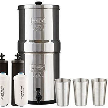 Big Berkey Water Filter System w/ 2 Black Purifier Filters (2 Gallons) Bundled w/ 1-set of Fluoride Filters (PF2) and 1-set of 4 12 oz Stainless Steel Cups